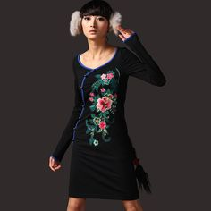 #Swanmarks Liebo New Embroidered Knitted Long Sleeved Dress