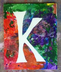 Fun art project for kids. Make their name or initial with tape, let them paint, remove tape! You can even reuse an old canvas and do the reverse in white so the letter is colored.