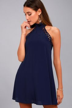 7fb82044459 Lulus | Any Sway, Shape, or Form Navy Blue Lace Halter Dress | Size Large |  100% Polyester