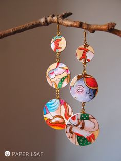 Ganesha | handpainted paper earrings | acrilyc paint on Canson cardstock | Paper jewellery | By Paper Leaf