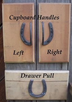 If i ever have a tack room of my own - Horseshoe drawer and cabinet handles. …