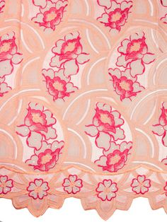 African Voile Lace Austria Premium Swiss Voile Lace 5 Yards Peach Red 98023-10