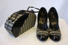 1940s Striped Handbag and Matching Pumps