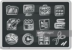 Office Chalk Icons Arte vetorial | Getty Images