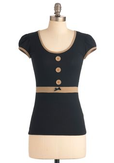 Book Club President Top. For style between the stacks, why not try this top of black and taupe? #black #modcloth  $39.99