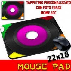 Tappetino Mouse Vintage con disco vinile -Musica -  Mouse Pad  personalizzato con foto,nome,frase,logo ecc