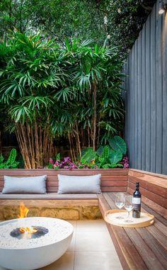 Mix 850 Fireplace: Combining Fire and Stone - EcoSmart Fire Back Garden Design, Small Backyard Design, Backyard Patio Designs, Small Backyard Landscaping, Garden Decking Ideas, Small Back Garden Ideas, Small Garden Inspiration, Colourful Garden Ideas, Cool Garden Ideas
