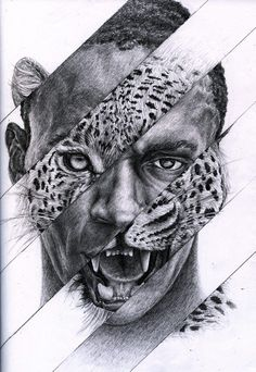 art inspo I found this collage piece of Usain Bolt and thought it was an interesting portrayal of the human cheetah Pencil Art Drawings, Art Drawings Sketches, Animal Drawings, Animal Paintings, Afrika Tattoos, Metamorphosis Art, Contrast Art, Art Du Croquis, L'art Du Portrait