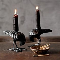 Halloween Raven Tiny Taper Holders, Set of 2 #williamssonoma Awesome