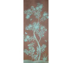 """SY-240 : Handpainted chinese scenic """"silhouette"""" wallpaper on a pieced 18th century style antiqued dark grey ground."""