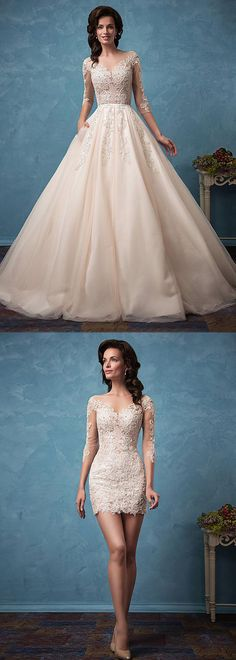 Glamorous Tulle Bateau Neckline See-through 2 In 1 Wedding Dress With Lace Appliques & Beadings