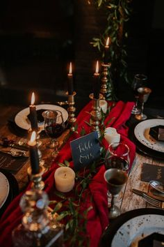 Table Tablescape Decor Red Blue Gold Candles Cutlery Moody Jewel Tone Velvet Wedding Ideas Sanctum On The Green www. Red Wedding, Boho Wedding, Wedding Colors, Fall Wedding, Rocker Wedding, Wiccan Wedding, Gothic Wedding, Chapel Wedding, Handmade Wedding