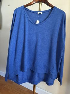 Freeshippng NWT Old Navy Womens Boxy t shirt XXL tee cotton  blue hi-lo hem…