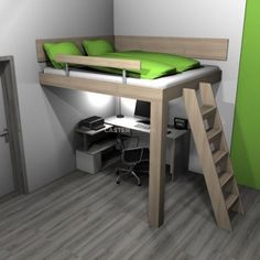 Bunk beds, Loft and suspended beds for the whole family Loft Beds For Small Rooms, Small Game Rooms, Small Room Design Bedroom, Bedroom Setup, Girl Bedroom Designs, Room Ideas Bedroom, Bed Room, Build A Loft Bed, Loft Bed Plans