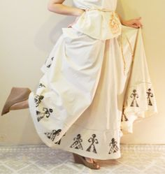 Natural Fabric (%100 cotton) Hand painting full circle maxi skirt