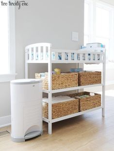 Tips and tricks for organizing a changing table! Must have items needed for a changing table, tips on how to fold and arrange baby things, and more! Great tips and tricks! Baby Nursery Diy, Baby Boy Rooms, Baby Room Decor, Nursery Room, Nursery Ideas, Project Nursery, Room Ideas, Girl Rooms, Baby Bedroom