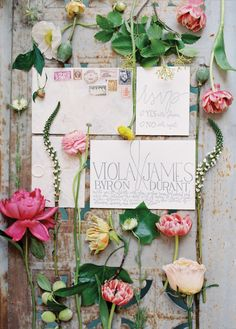 Wedding paper suite by Ink Lemonade. Image by Anne Robert Photography, florals by Holly Heider Chapple Flowers, Ltd. See more in the Winter 2014 issue of Weddings Unveiled: www.weddingsunveiledmagazine.com.