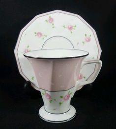 Vintage Noritake Art Deco Pink Roses Tall Tea cup and Saucer c1962 Japan