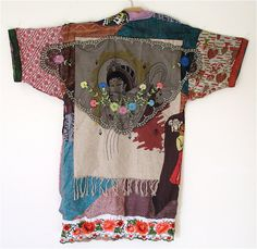 """Reserved for """"Lt"""" Silk Patchwork Maxi Duster PRIMITIVE NATIVE TRIBAL Jacket Ethnic Wearable Folk Art Collage Plus xl"""