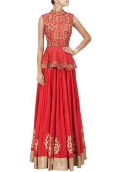Red embroidered peplum and lehenga available only at Pernia's Pop-Up Shop.