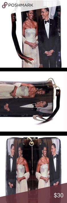 Magazine Cover Michelle Obama Patent Large Flap Clutch Evening Bag Shoulder Bag Cross Body Bag