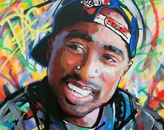 "Tupac Shakur (2pac), Original Painting, 40"", 52"", 60"", Art, Music, Rap, Hip Hop, Graffiti, Richard Day"