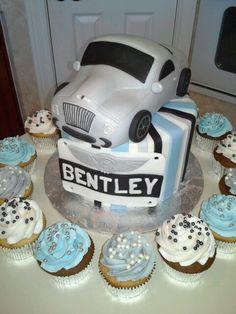 Bentley car baby shower cake...