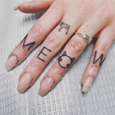 "155 Likes, 5 Comments - sam cedar  (@samcedartattoo) on Instagram: ""Meow  #tattoo #tattoos #tattooed #knuckles #knuckletattoos #meowtattoo #girlytattoo…"""