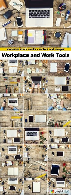 Workplace and Mix of Work Tools 25x JPEG  stock images