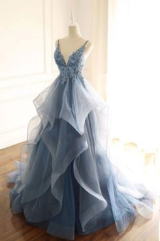 Ruffle prom dress - Blue Gray Tulle V Neck Long Ruffles Prom Dress, Lace Evening Dress from Sweetheart Dress – Ruffle prom dress Stunning Prom Dresses, Pretty Prom Dresses, Cheap Prom Dresses, Dress Prom, Flowy Prom Dresses, Dress Formal, Princess Prom Dresses, Best Prom Dresses, Colorful Prom Dresses