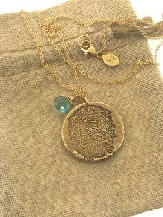 FINGERPRINT Bronze and 14k gold filled necklace made by MayaBelle