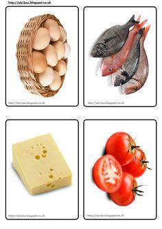 Alimentos en formato A6 para realizar diferentes actividades y juegos tras, por ejemplo, haber presentado las grandes de tamaño A5