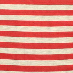 Red and Oatmeal Small Stripe Cotton Jersey Knit Fabric :: $6.00