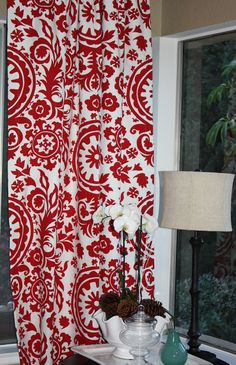FREE U.S. SHIPPING - Set of Two 50x84 inch Designer Rod Pocket Drapery Panels. Suzani in Lipstick Red and White - Unlined.. $140.00, via Etsy.