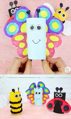 Learn how to make a Toilet Paper Roll Butterfly, Paper Roll Bee and Paper Roll Ladybug! these adorable buggy Spring crafts are easy to make and can be completed with our bug elements template. Spring Crafts For Kids, Paper Crafts For Kids, Crafts For Kids To Make, Craft Activities For Kids, Preschool Crafts, Art For Kids, How To Make, Toilet Paper Roll Crafts, Paper Crafts Origami
