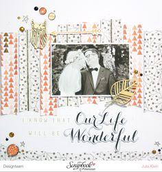 DT Arbeit von Julia Klein mit der Serie Nine & Co von Teresa Collins.  Scrapbooking Layout für ein Hochzeitsalbum.