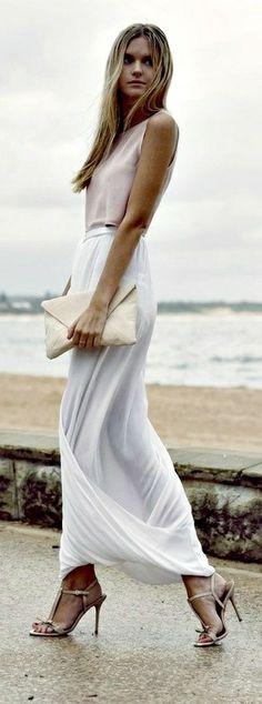 Chic White Long Skirt