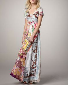 Johnny Was Collection Printed Georgette Maxi Dress $120.00