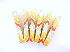 Rainbow Chevron Magnets, Yellow Chevron Clothespin Magnets. $6.00, via Etsy.