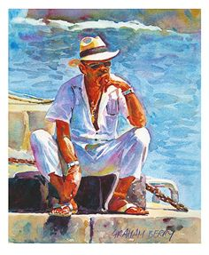 "Man in white by Graham Berry Watercolor ~ 12"" x 10"""