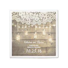 rustic mason jar lights wedding paper napkins