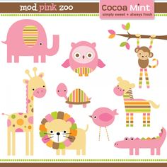 mod pink wild animals clip art