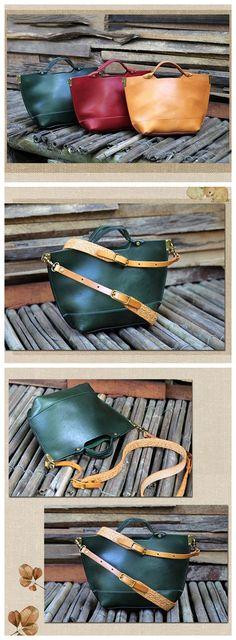 Handmade Green Leather Messenger Bag Handbag Shoulder Bag Satchel 14100