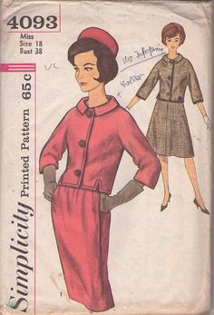 Simplicity 4093 Vintage 60's Sewing Pattern TRES CHIC! Mad Men Jackie O Chanel Style Suit, 2 Piece Dress, Notched Jacket Top, Slim or A-Line Flared Skirt #MOMSPatterns