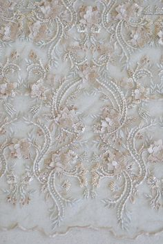 Reserved Listing for Kirsten - Luxury Hand Beaded Beige Flower Lace Couture Fabric - yards Fabric Manipulation, Lace Fabric, Pearl Beads, Discount Designer, Beige, Pearls, Luxury, Flowers, Handmade