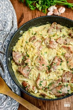 Creamy Garlic Pork with Cabbage - pork pieces in an irresistible lighter creamy garlic sauce with delicious shredded cabbage for a perfect any night of the week dinner. Gluten-Free, Slimming World and Weight Watchers friendly Pork And Cabbage Recipe, Shredded Cabbage Recipes, Ham And Cabbage, Boiled Cabbage, Pork Pieces Recipes, Pork Recipes, Healthy Recipes, Keto Recipes, Healthy Food