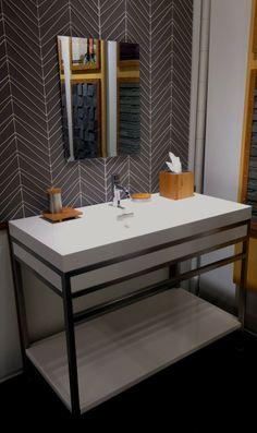 Neo-Metro SLAB console #bathroom #remodel #designerdecor