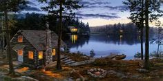 Who wouldn't want a cabin on a lake.