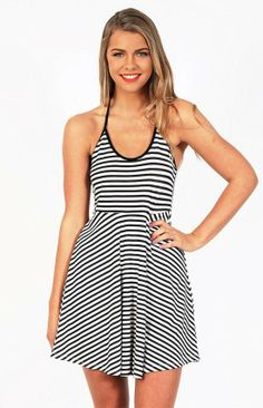 Striped Cutting Edge Halter Neck Dress - $59.00
