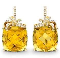Kiki McDonough yellow gold Cushion Bow earrings with citrine and diamonds.